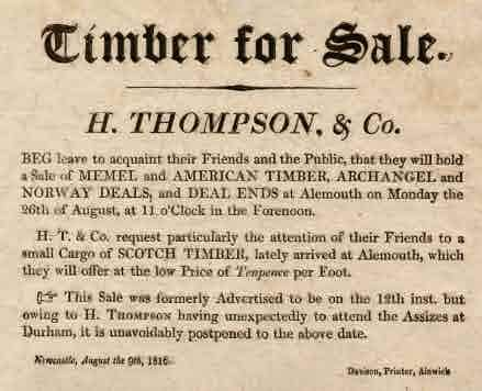 Picture of Handbill for Sale of Timber at Alnmouth