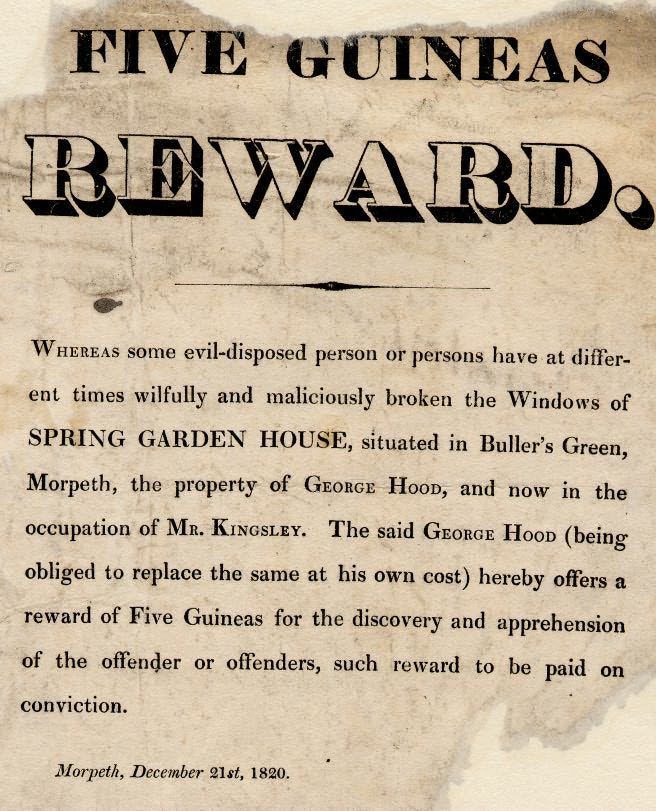 Picture of Reward Poster for Unlawfully Breaking Windows