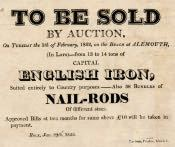 Notice of Iron Sale at Alnmouth - Click for bigger image