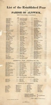 List of Poor People in Alnwick Parish - Click for bigger image