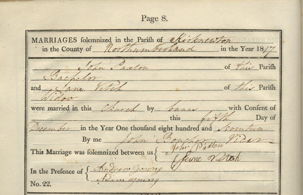 Picture of Kirknewton St. Gregory's Marriage Register